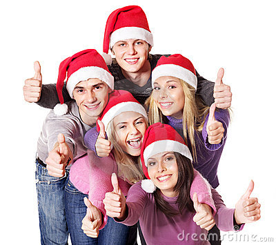 Group young people in santa hat show thumbs up.