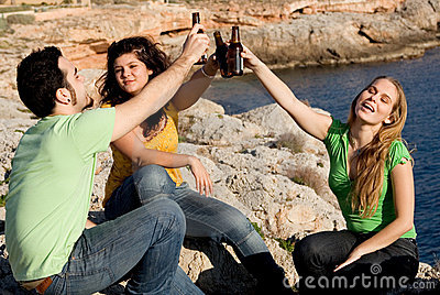 Group of youth drinking alcohol