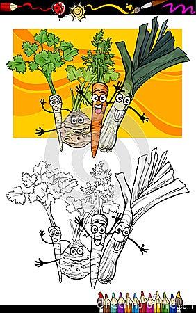 Groupe comique de légumes pour livre de coloriage