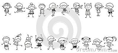 Groupe d 39 enfants croquis de dessin illustration de vecteur image 46172587 - Dessin groupe d enfants ...