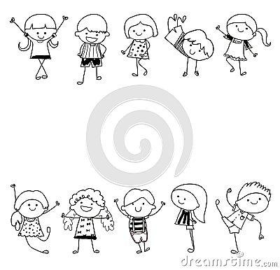 Groupe d 39 enfants croquis de dessin illustration de vecteur image 46172664 - Dessin groupe d enfants ...
