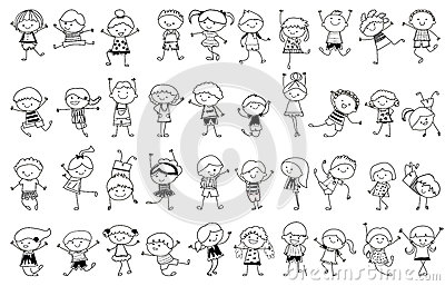 Groupe d 39 enfants croquis de dessin illustration de vecteur image 46172742 - Dessin groupe d enfants ...