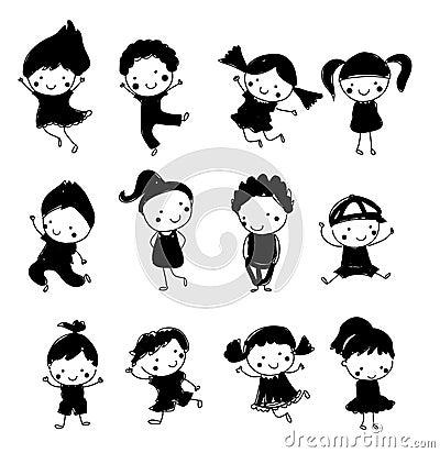 Groupe d 39 enfants croquis de dessin illustration de vecteur image 66541877 - Dessin groupe d enfants ...