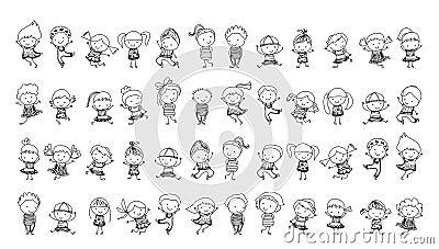 Groupe d 39 enfants croquis de dessin illustration de vecteur image 66541925 - Dessin groupe d enfants ...