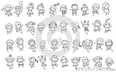 Groupe d 39 enfants croquis de dessin illustration de vecteur image 66542035 - Dessin groupe d enfants ...