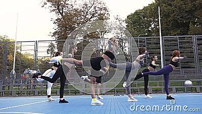 Groupe de femmes douces et attrayantes se tenant debout sur une jambe et gardant l'équilibre sur leur entraînement au parc banque de vidéos