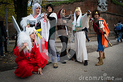 Groups of costumed players Editorial Image