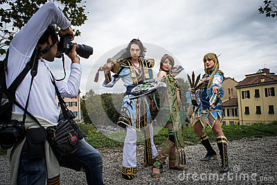 Groups of costumed players are photographed Editorial Photo