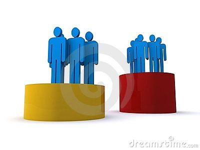 Groups of people on podiums
