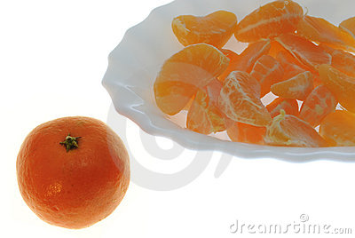 Groups of segments of a tangerine
