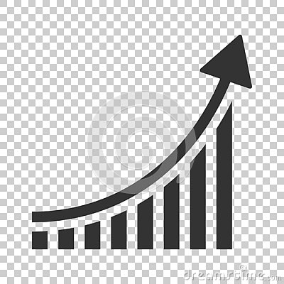 Growing bar graph icon in flat style. Increase arrow vector illustration on isolated background. Infographic progress business co Vector Illustration