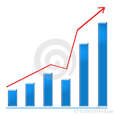 Growing blue bar chart and rising arrow