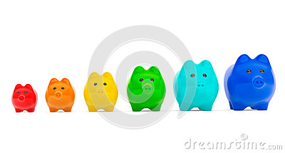 Growing investment concept. Colour Piggy Banks in row