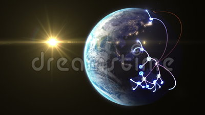 Growing network across the world. Beautiful 3d animation, seamless loop (version with the Sun
