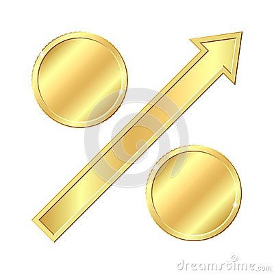 Growing percentage sign with gold coins.