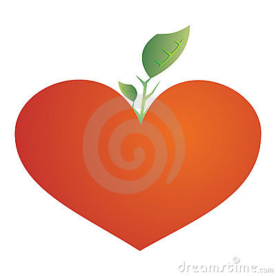 Growing tree from the red heart