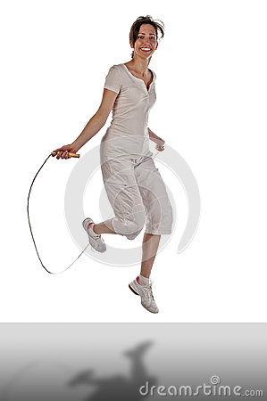 Grown woman with jump rope