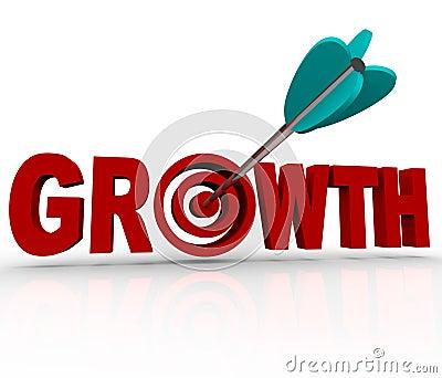 Growth - Arrow in Target Reaching Goal of Increase