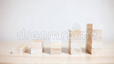Growth, business success. wood blocks concept stock footage