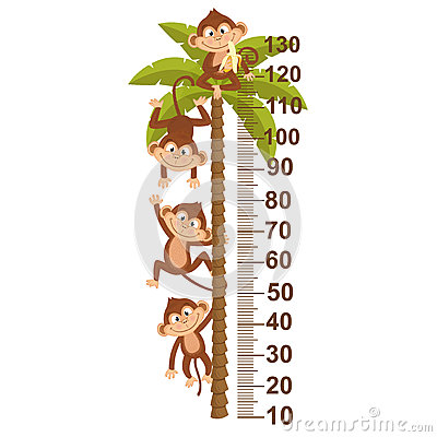 Free Growth Measure With Monkey On Palm Royalty Free Stock Image - 93538476