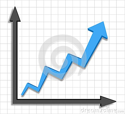 Growth progress blue arrow graph