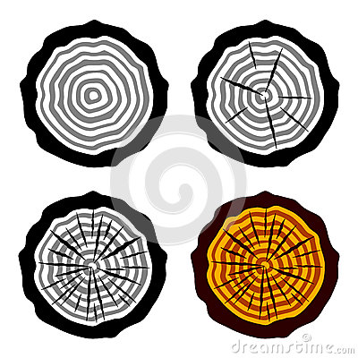Growth rings tree trunk symbols