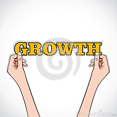 Growth text with hand