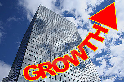 Growth text with skyscraper