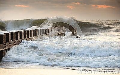 Groyne Bashed by Ocean Waves North Carolina