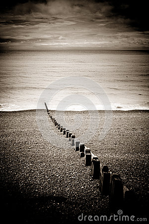 Groynes on Brighton beach, England