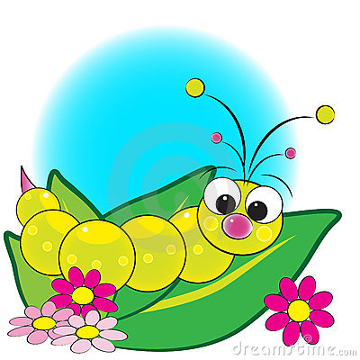 Grub on leaves with flowers - Kids illustration