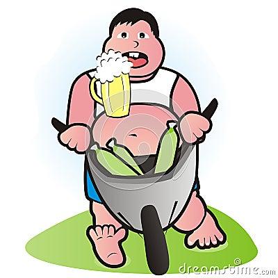 Grubas niesie piwo na jego brzuchu. humorystyczna ilustracja