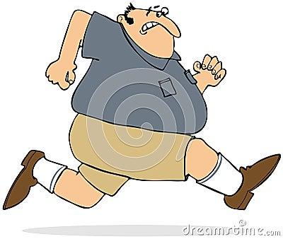 Gruby mężczyzna biec sprintem