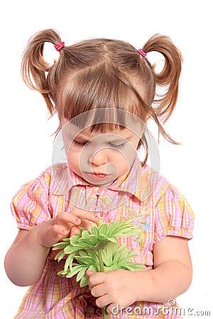Grumpy girl with flower