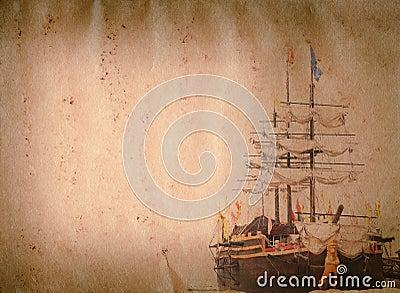 老风帆船grunge纸张纹理