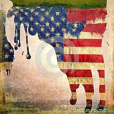 滴下美国国旗的Grunge
