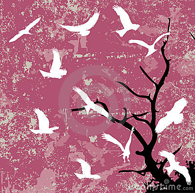 Grunge abstract bird and tree silhouette raster