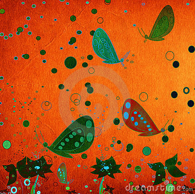Grunge abstract design with flying butterflies