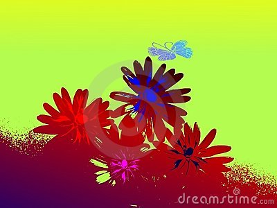 Grunge abstract floral background with butterfly