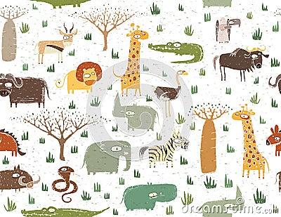 Grunge African Animals Seamless Pattern