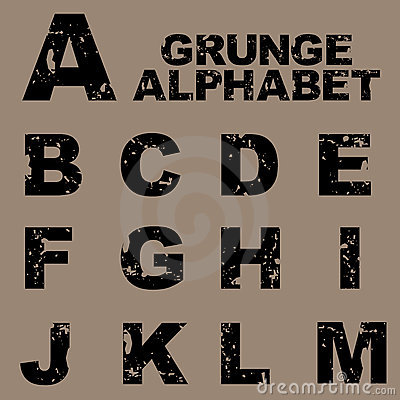 Grunge alphabet set [A-M]