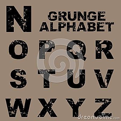 Grunge alphabet set [N-Z]