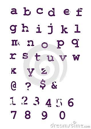 Grunge alphabet typographic letters
