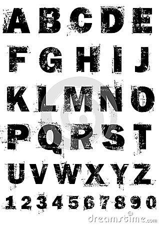 Grunge Alphabet und Zahlen