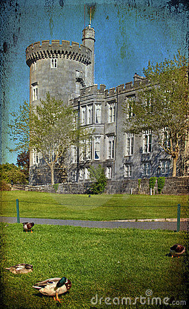 Grunge ancient irish castle on west coast ireland