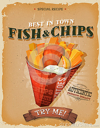 Free Grunge And Vintage Fish And Chips Poster Royalty Free Stock Images - 62793759