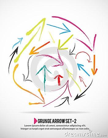 Grunge arrow icon set