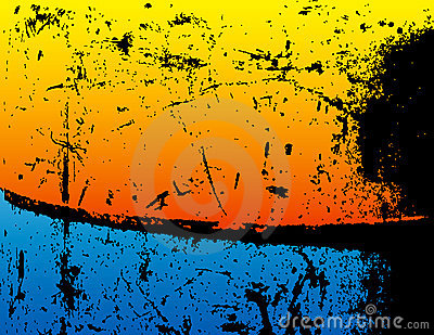 Grunge Background with Blue and Orange
