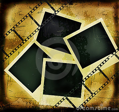Grunge background with filmstrip and photo frames