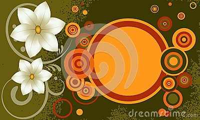 Grunge background with flowers.